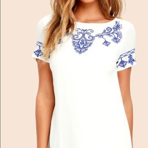 Tale to Tell Blue/Ivory Embroidered Shift Dress